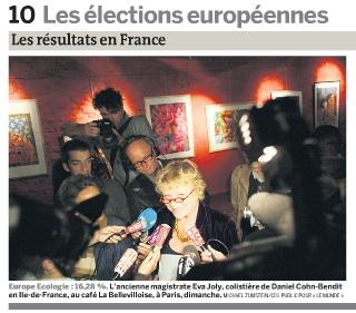 Joly på festen. NRK bak med blå mic... Faksimile fra Le Monde